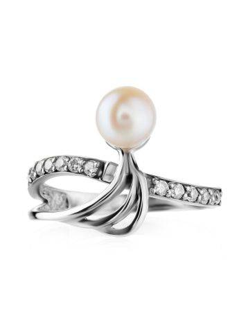 Classy Silver Ring With Cultured Pearl And Crystals The Serene, Ring Size: 6.5 / 17, image , picture 3
