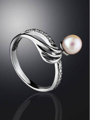 Classy Silver Ring With Cultured Pearl And Crystals The Serene, Ring Size: 6.5 / 17, image , picture 2