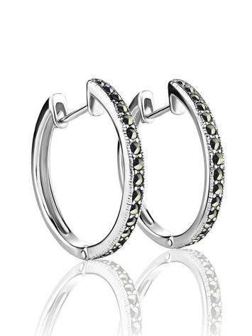 Silver Hoop Earrings With Marcasites The Lace, image