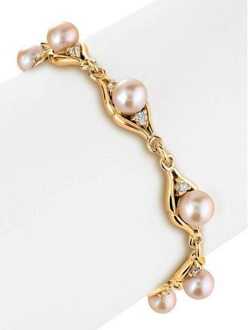 Gold-Plated Link Bracelet With Cultured Pearl And Crystals The Serene, image , picture 3