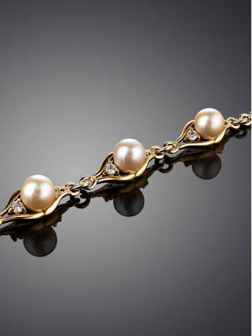 Gold-Plated Link Bracelet With Cultured Pearl And Crystals The Serene, image , picture 2