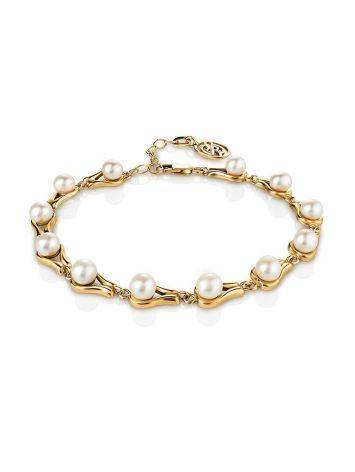 Gold-Plated Link Bracelet With Cultured Pearl The Serene, image