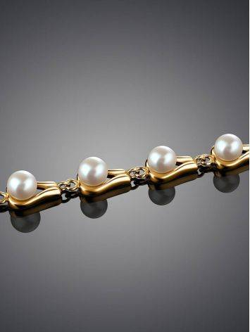 Gold-Plated Link Bracelet With Cultured Pearl The Serene, image , picture 2