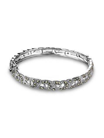 Silver Hinged Bangle With Marcasites The Lace, image , picture 4