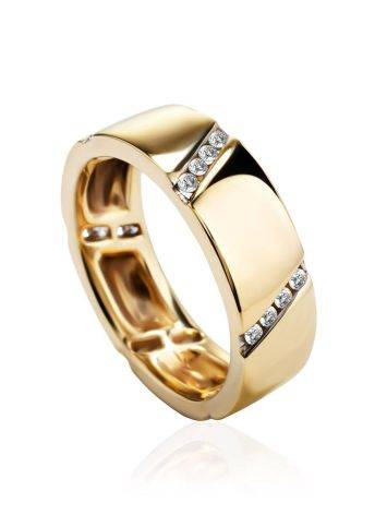 Golden Band Ring With Diamonds, Ring Size: 6.5 / 17, image