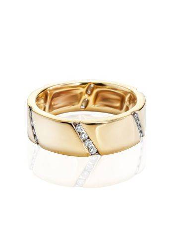 Golden Band Ring With Diamonds, Ring Size: 6.5 / 17, image , picture 3