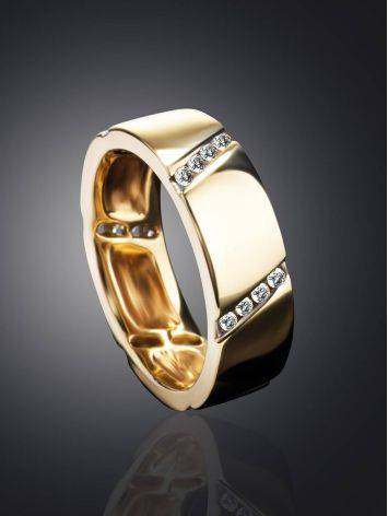 Golden Band Ring With Diamonds, Ring Size: 6.5 / 17, image , picture 2