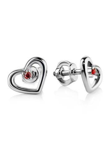 Heart Shaped Sterling Silver Studs With Red Crystals The Aurora, image