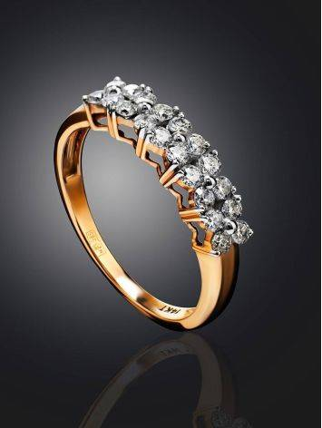 Golden Ring With Double Diamond Rows, Ring Size: 8 / 18, image , picture 2