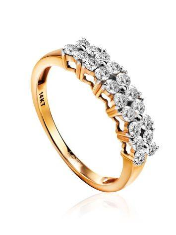 Golden Ring With Double Diamond Rows, Ring Size: 8 / 18, image