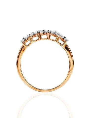 Golden Ring With Double Diamond Rows, Ring Size: 8 / 18, image , picture 3
