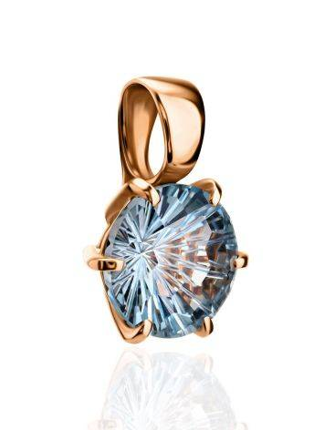 Golden Pendant With Bright Blue Topaz, image , picture 4