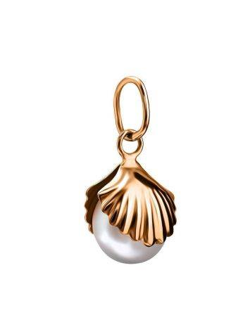 Golden Shell Pendant With Cream Cultured Pearl The Serene, image