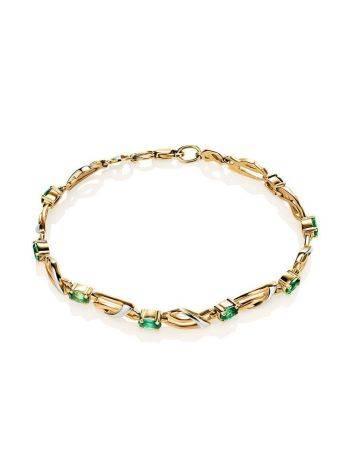 Classy Golden Link Bracelet With Emeralds, image