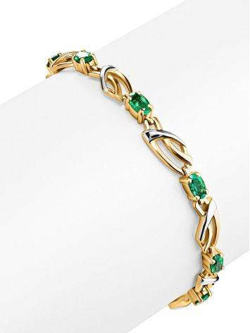 Classy Golden Link Bracelet With Emeralds, image , picture 3