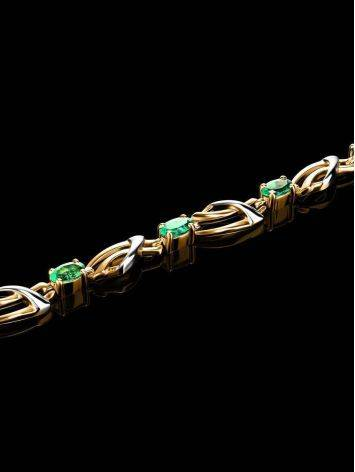 Classy Golden Link Bracelet With Emeralds, image , picture 2