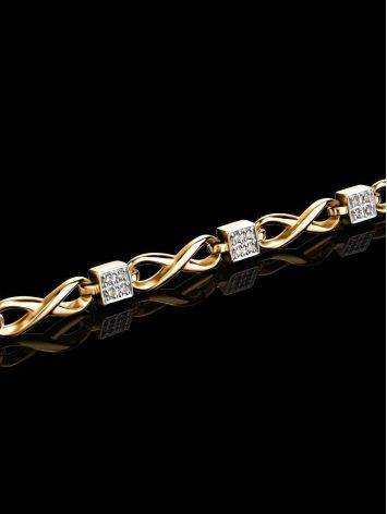 Golden Link Bracelet With White Diamonds, image , picture 2