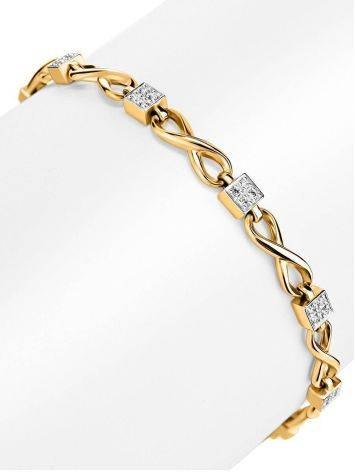 Golden Link Bracelet With White Diamonds, image , picture 3