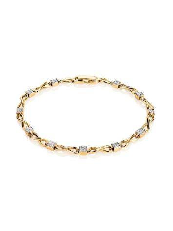 Golden Link Bracelet With White Diamonds, image