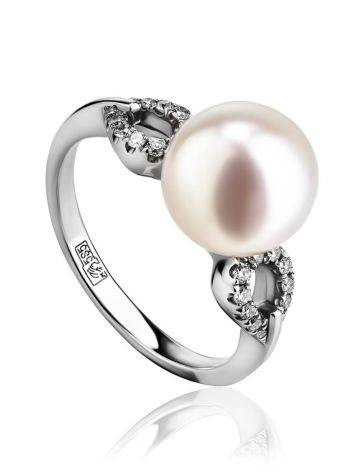 Chic White Gold Ring With Cultured Pearl And Diamonds The Serene, Ring Size: 6 / 16.5, image