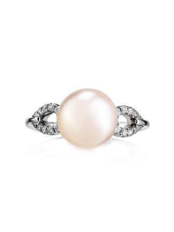 Chic White Gold Ring With Cultured Pearl And Diamonds The Serene, Ring Size: 6 / 16.5, image , picture 2