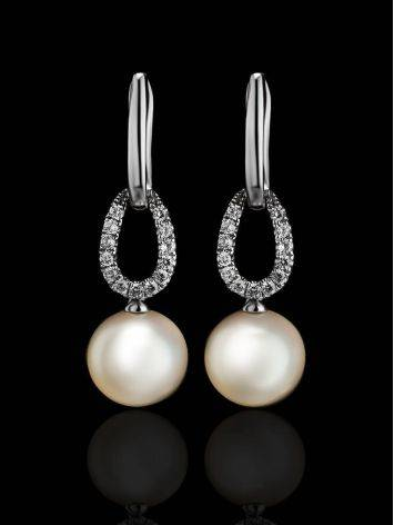 White Gold Drop Earrings With Cultured Pearl And Diamonds, image , picture 2