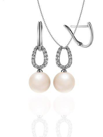 White Gold Drop Earrings With Cultured Pearl And Diamonds, image , picture 5