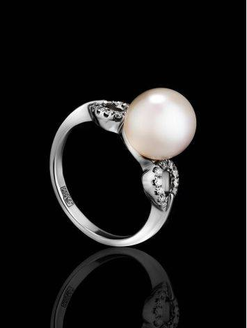 Chic White Gold Ring With Cultured Pearl And Diamonds The Serene, Ring Size: 6 / 16.5, image , picture 3