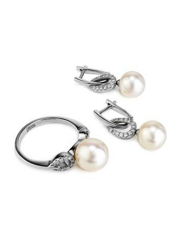 White Gold Drop Earrings With Cultured Pearl And Diamonds, image , picture 4