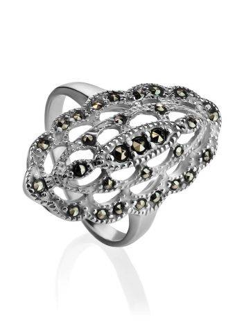 Silver Cocktail Ring With Marcasites The Lace, Ring Size: 6.5 / 17, image