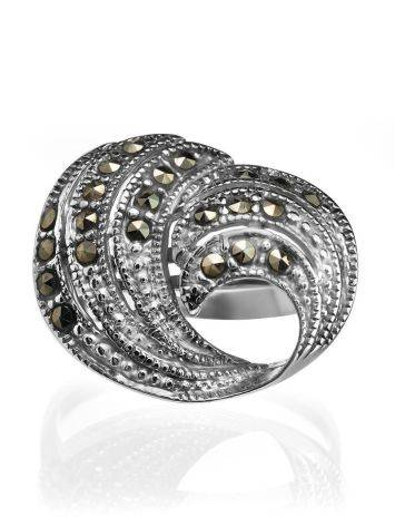 Silver Cocktail Ring With Marcasites The Lace, Ring Size: 8.5 / 18.5, image , picture 3