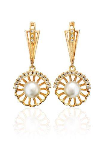 Gold-Plated Floral Dangles With Cultivated Pearl And Crystals The Serene, image
