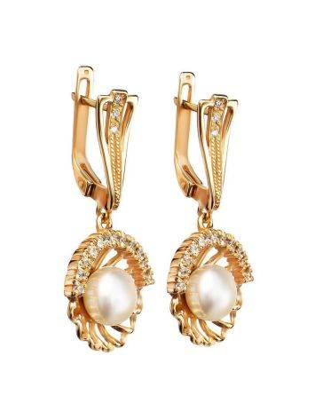 Gold-Plated Floral Dangles With Cultivated Pearl And Crystals The Serene, image , picture 4