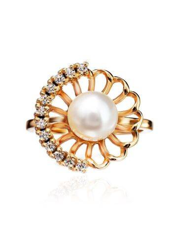 Gold-Plated Floral Ring With Cultured Pearl Centerpiece And Crystals The Serene, Ring Size: 7 / 17.5, image , picture 4