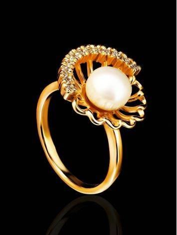 Gold-Plated Floral Ring With Cultured Pearl Centerpiece And Crystals The Serene, Ring Size: 7 / 17.5, image , picture 2