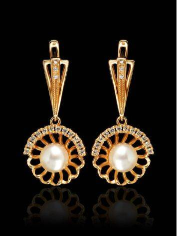 Gold-Plated Floral Dangles With Cultivated Pearl And Crystals The Serene, image , picture 2