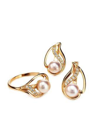 Statement Gold-Plated Ring With Cultured Pearl Centerpiece And Crystals The Serene, Ring Size: 7 / 17.5, image , picture 4
