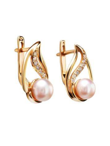 Refined Gold-Plated Earrings With Cultured Pearl And White Crystals The Serene, image , picture 3