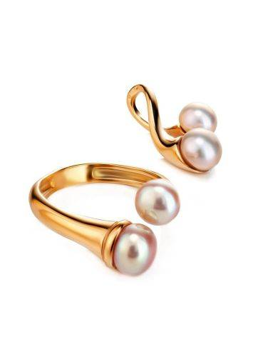 Twisted Gold-Plated Ring With Creamrose Cultured Pearl The Serene, Ring Size: Adjustable, image , picture 4
