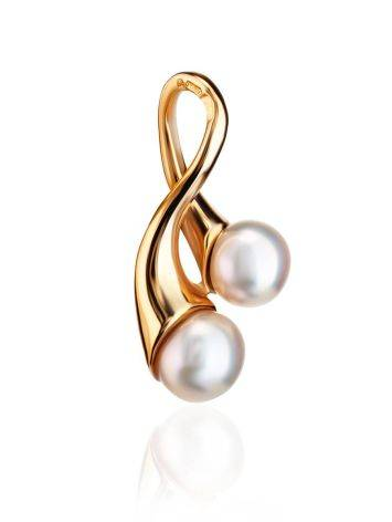 Twisted Gold-Plated Pendant With Creamrose Cultured Pearls The Serene, image
