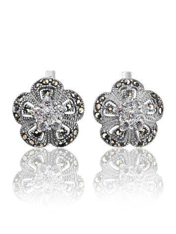 Silver Floral Earrings With Crystals And Marcasites The Lace, image
