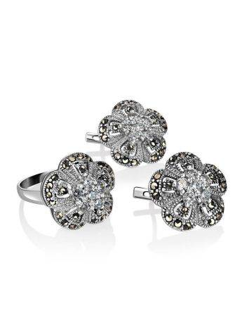 Silver Floral Earrings With Crystals And Marcasites The Lace, image , picture 4