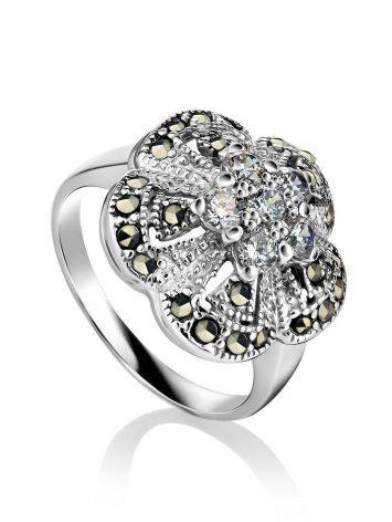 Silver Floral Ring With Crystals And Marcasites The Lace, Ring Size: 5.5 / 16, image
