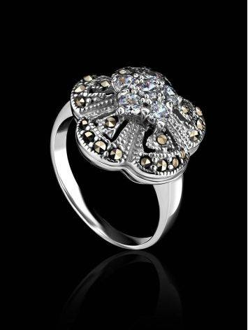 Silver Floral Ring With Crystals And Marcasites The Lace, Ring Size: 5.5 / 16, image , picture 2