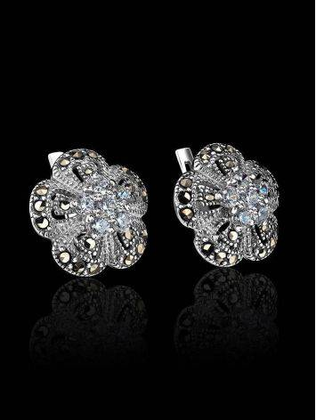 Silver Floral Earrings With Crystals And Marcasites The Lace, image , picture 2