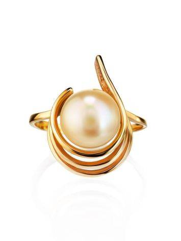 Refined Gold-Plated Ring With Cultured Pearl The Serene, Ring Size: 6.5 / 17, image , picture 3