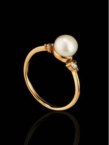 Gold-Plated Ring With Cultured Pearl And Crystals The Themis, Ring Size: 8.5 / 18.5, image , picture 2