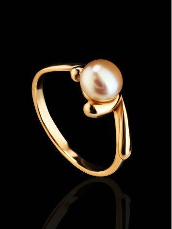 Classy Gold-Plated Ring With Creamrose Light Cultured Pearl The Serene, Ring Size: 5.5 / 16, image , picture 2