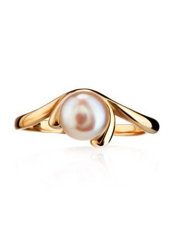Classy Gold-Plated Ring With Creamrose Light Cultured Pearl The Serene, Ring Size: 5.5 / 16, image , picture 3