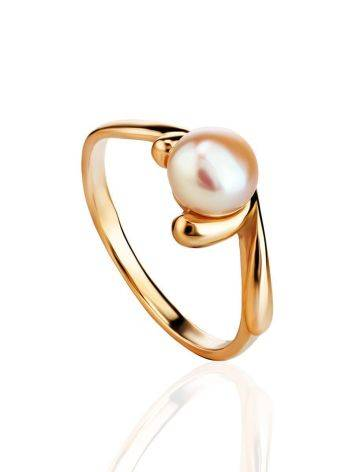 Classy Gold-Plated Ring With Creamrose Light Cultured Pearl The Serene, Ring Size: 5.5 / 16, image